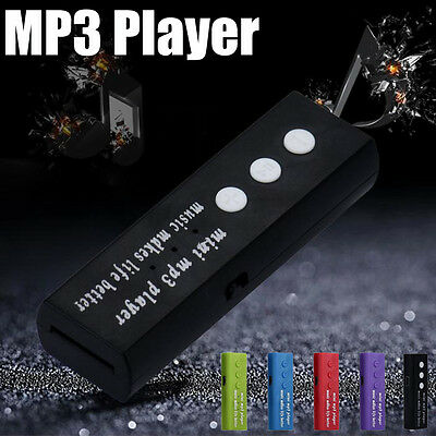 Portable Mini USB Clip Digital Mp3 Music Player Support 16GB SD TF Card 6 Colors