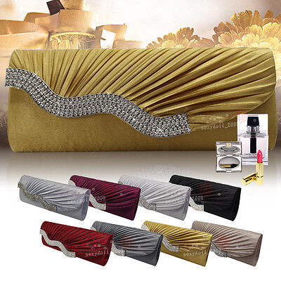 Wedding Women Satin Wavy Crystal Evening Clutch Bag Bridal Evening Handbag UK