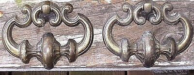 Lot of 2 Vintage LARGE Ornate Brass Tone Metal Dresser Desk Drawer Pulls Handles