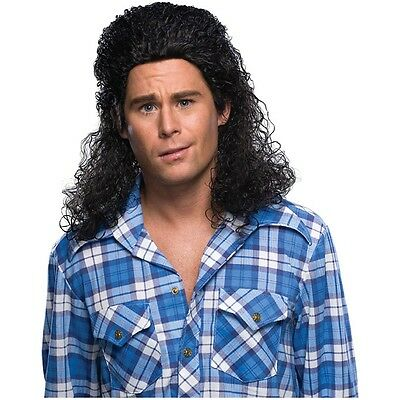 Perm Mullet Costume Wig Adult Men Curly Black Redneck Hillbilly Hairdo Halloween