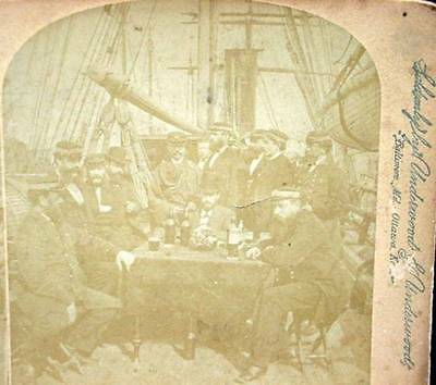 Antique Underwood Stereoview Life On Ocean Men Uniform Ship Sitting Around Table