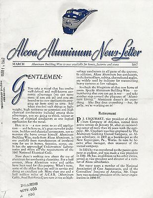 ALCOA ALUMINUM NEWS LETTER March 1947 Pittsburgh Railroad Martin Airplane