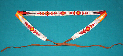"Beaded Hatband Geometric Cowboy Cowgirl Western 20"" + 8"" leather ties ea end #01"