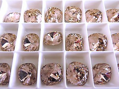 1 Vintage Rose Foiled Swarovski Crystal Square Cushion Cut  Stone 4470 12mm