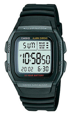 Casio W96H-1BV Men's Black Resin Band Chronograph Alarm LCD Watch