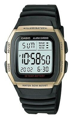 Casio W96H-9A Men's Black Resin Band Chronograph Alarm LCD Watch
