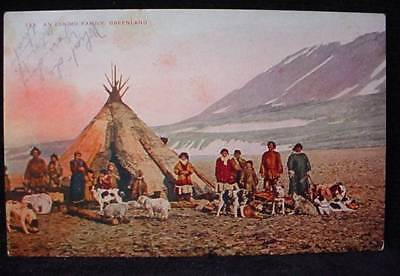 Eskimo Family Camp Home Greenland Postcard Inuit 190?