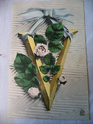 Vintage Postcard Military V For Victory WWI Ribbon Roses Unposted Silberer