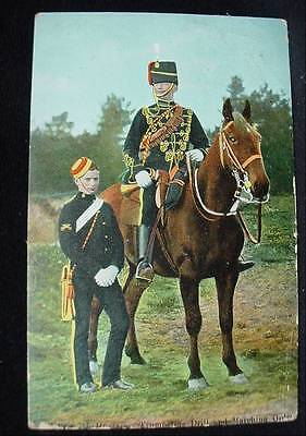 1905 Postcard Trooper 7th Hussars Trumpeters Drill and Marching Order Pre WWI