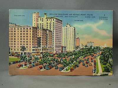 Biscayne Boulevard & Hotels Miami Flordia 1947 Postcard Waterfront Entertainment