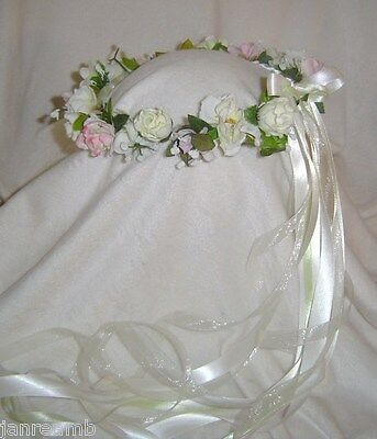 Remembrance -sweet Head wreath of Silk Flowers Ivory, white - pink Renaissance