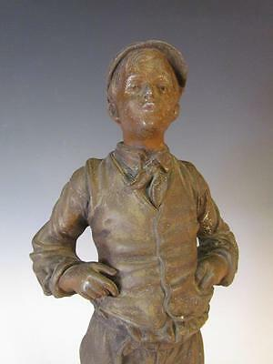 ANTIQUE  FRENCH SPELTER METAL STATUE OF A BOY WHISTLER titled : SIFFLEUR