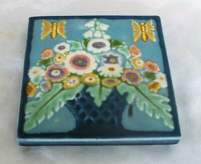 Glorious Antique 1926 Rookwood Tile Basket Flowers and Butterflies # 3206