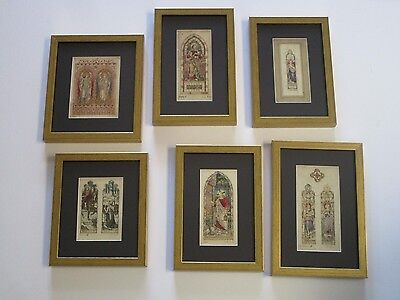 Lot Of 6 Framed Antique Painting Religious Icon Stained Glass Window Mural Mini