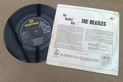 """ Beatles Hits "" Uk Orig Ep Rarer Bupr Sleeve"