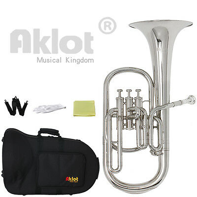 Aklot Intermediate Eb Nickel Alto Horn Silver Plated Mouthpiece for Band Student