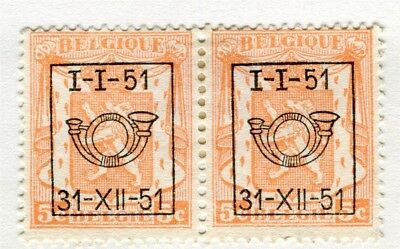 BELGIUM;  1951 Boxed Brussel Optd. on definitive issue 5c. Mint hinged pair