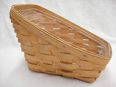 Longaberger 1996 Slanted Small Vegetable Basket with Plastic Protector Soiled