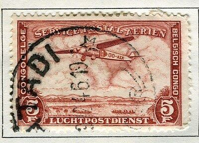 BELGIUM CONGO;  1934 early AIR issue used 5Fr. value