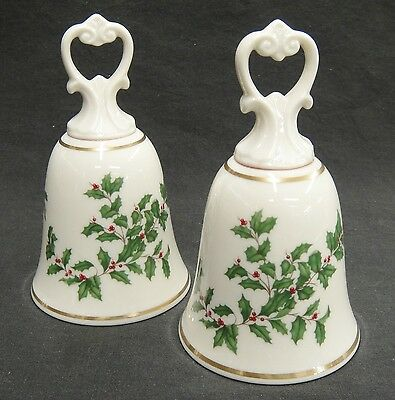 Lenox Holiday Holly Two Decorative Bells Porcelain 24K Gold Trim Christmas