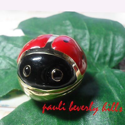 LUCKY LADYBUG don't fly away ENAMEL epoxy Red Black Gold Tone Metal PILL CASE