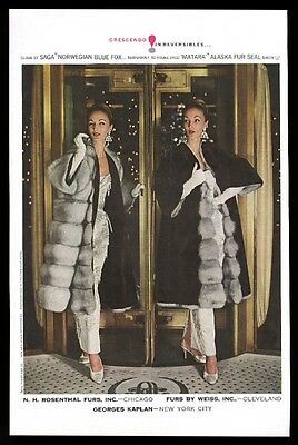 1960 Saga and Fouke fur coat 2 women photo vintage fashion print ad