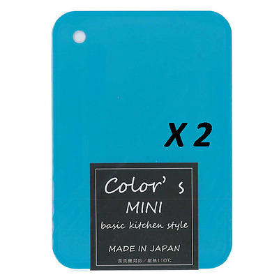 "2 Pcs Japanese Blue Mini Plastic Kitchen Cutting Board 8-3/8"" x 6""/ Made Japan"