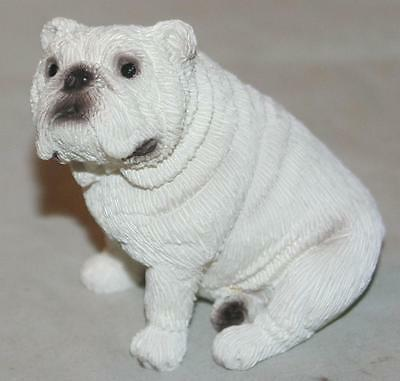Vintage 2004 K-9 Creations White English Bulldog Dog Figurine Realistic W/ Box