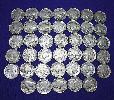 "1 roll of (40)   Full Horn. Buffalo Nickels.  Grade VF-XF+  Mixed ""PDS"" Mints."