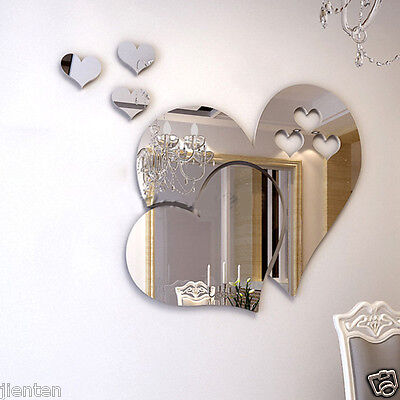 Modern 3D Mirror Heart Wall Stickers Decal DIY Home Art Mural Decor Removable