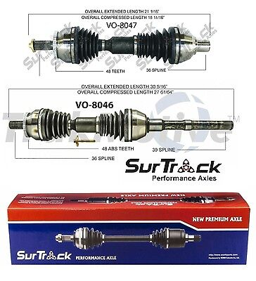 Pair of Front CV Axle Shafts for Volvo XC90 FWD 2003-2005 2.5L SurTrack Set