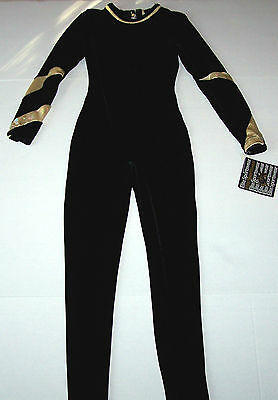 Nwt New GK Elite Unitard Leotard Velvet + Hologram Holo LS Black Gold $91 Women