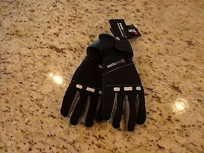 NEW Swiss Tech Boys Black & Gray Winter Ski Gloves with 80g Thinsulate Size S/M