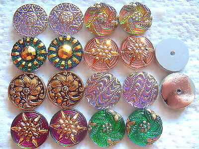 "REDUCED CZECH GLASS CABOCHONS (16 pcs) 11/16""- 18mm PAIRS/ US 18-MIX 021"
