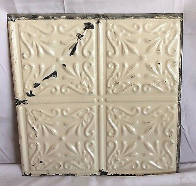 1890's 12 x 12 Antique Tin Ceiling Tile Ivory Metal Reclaimed Anniversary 212-17