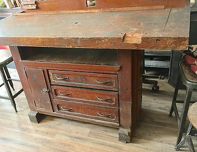 Antique Wood Carpenter's Work Bench Woodworker's Table Island  Industrial