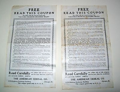 Vintage American Cereal Co (Chicago) Redeemable Coupons - Jan. 1907
