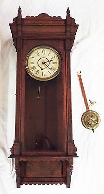 "RARE Old Antique 8 Day INGRAHAM ""GARLAND"" Oak Regulator WALL CLOCK -RUNS-"