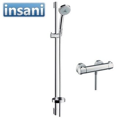 Hansgrohe Shower combination Croma 100 Ecostat 1001 SL and rail Unica 27085000