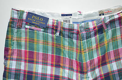 """NWT Men's Polo Ralph Lauren Casual Shorts """"India Madras"""" Straight Fit, Sz. 34"""