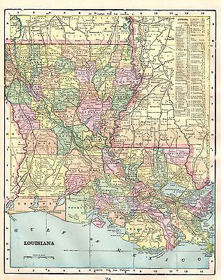 1899 Antique LOUISIANA MAP Vintage Map of Louisiana Gallery Wall Art #3653