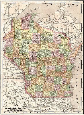 1900 Antique WISCONSIN Map Vintage Collectible Original  Map of WISCONSIN 3657
