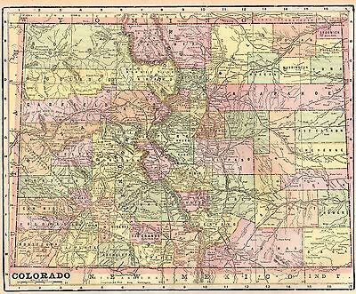 1900 Antique COLORADO Map Vintage Map of Colorado Gallery Wall Art 3660