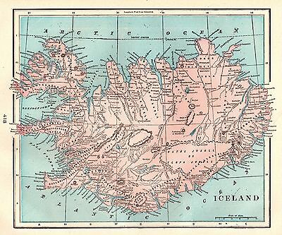 1903 Antique ICELAND Map Vintage Map of Iceland Home Decor Gallery Wall Art 3667