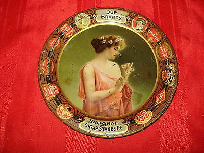 """NATIONAL CIGAR STANDS CO. - Early Tin Lithograph Tip Tray - (6"""") - 1900"""