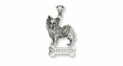 Papillon Pendant Jewelry Sterling Silver Handmade Dog Pendant PA8-NP