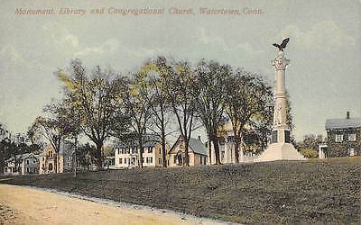 WATERTOWN, CT ~ MONUMENT, LIBRARY & CONG. CHURCH ~ SCHMELZER, PUB ~ c. 1910s