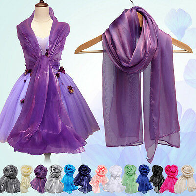 Wedding Silky Iridescent Chiffon Wrap Stole Shawl Bridal Evening Prom Parties UK