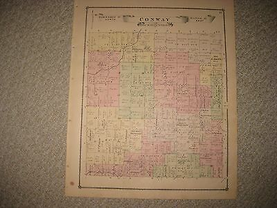 Antique 1875 Conway Township Livingston County Michigan Handcolored Map Superb N