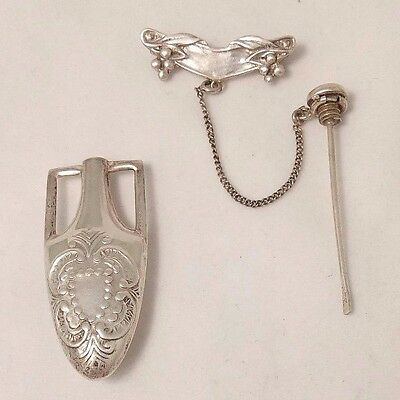 Sterling Silver Snuff Bottle Pendant With Lapel Pin